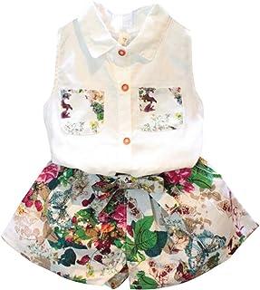 amropi Niña Sin Mangas Camisa Tops con Bolsillos y Floral Corto Conjunto de Ropa para 3-8 años