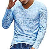 Kobay Hommes Solide T-Shirt à Manches Longues Et Col en V Haut(FR-56/CN-3XL,Bleu)
