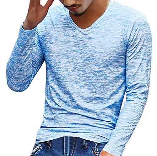 VECDY Herren Bluse,Räumungsverkauf- Herren Mens Solid V Ausschnitt Langarm T-Shirt Top Slim Bluse Hübsche Reisejacke Cool und cool top(Blau,50)