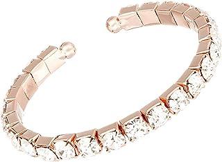 Rosemarie & Jubalee Women's Comfort Flex 6mm Crystal Rhinestone Bangle Cuff Bracelet