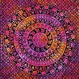 momomus Mandala Wandteppich - Wanddekoration aus Baumwolle für Zuhause - Groß, vielseitig und stilvoll - Symmetrie-inspirierter Teppich, Stranddecke, Tagesdecke, Mehrfarbig 11, 210x230 cm