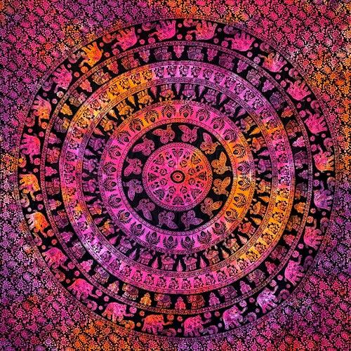 momomus Tapiz de Pared de Mandala - Hecho a Mano, de Algodón y Tintes vegetales - Multicolor, de Inspiración Simétrica, Pareo/Toalla de playa grande - Elegante y Bohemio - 210x230cm aprox