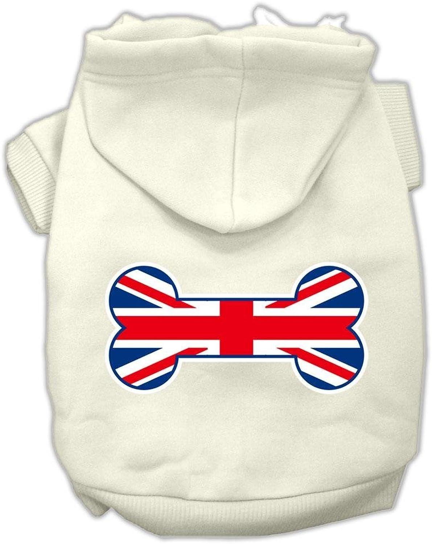 Mirage Pet Products Bone Shaped United Kingdom (Union Jack) Flag Screen Print Pet Hoodies, Medium, Cream