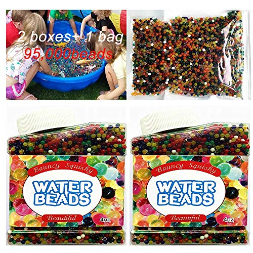 FENDIDI Water Beads 2 Boxes and 1 Bag Weight of 14 OZS 95.000 Beads Crystal Soil Gel for Refill, Sensory Toys, Vase Filler