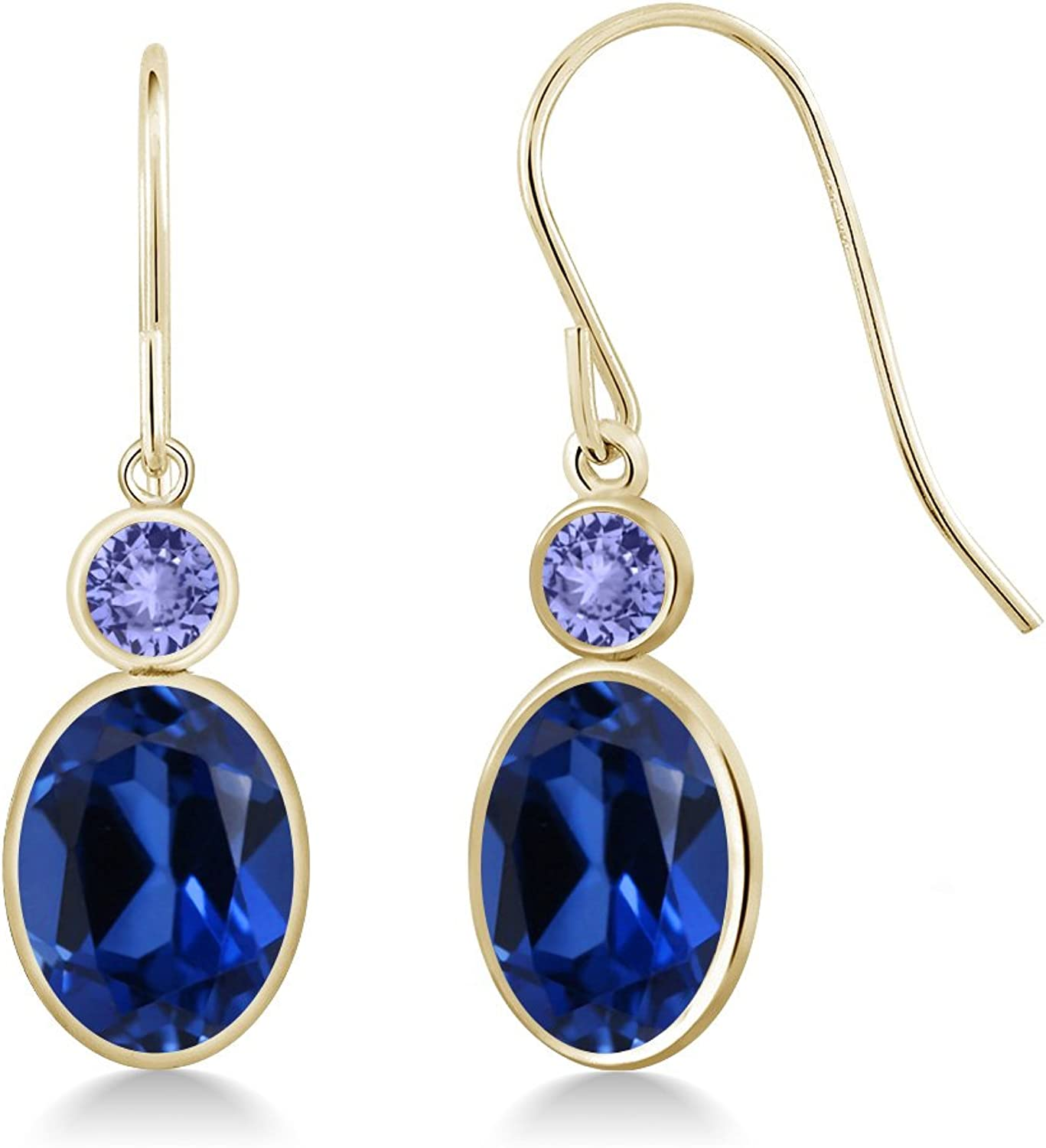 3.52 Ct Oval bluee Simulated Sapphire bluee Tanzanite 14K Yellow gold Earrings