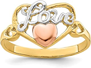 14k Yellow Rose Gold Love Heart Band Ring Size 6.00 Fine Jewelry For Women