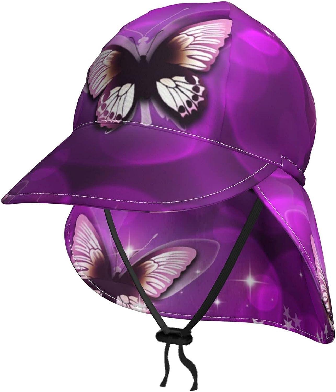 Purple Butterfly Kids Sun mart Hat Brea with Flap Summer Neck store