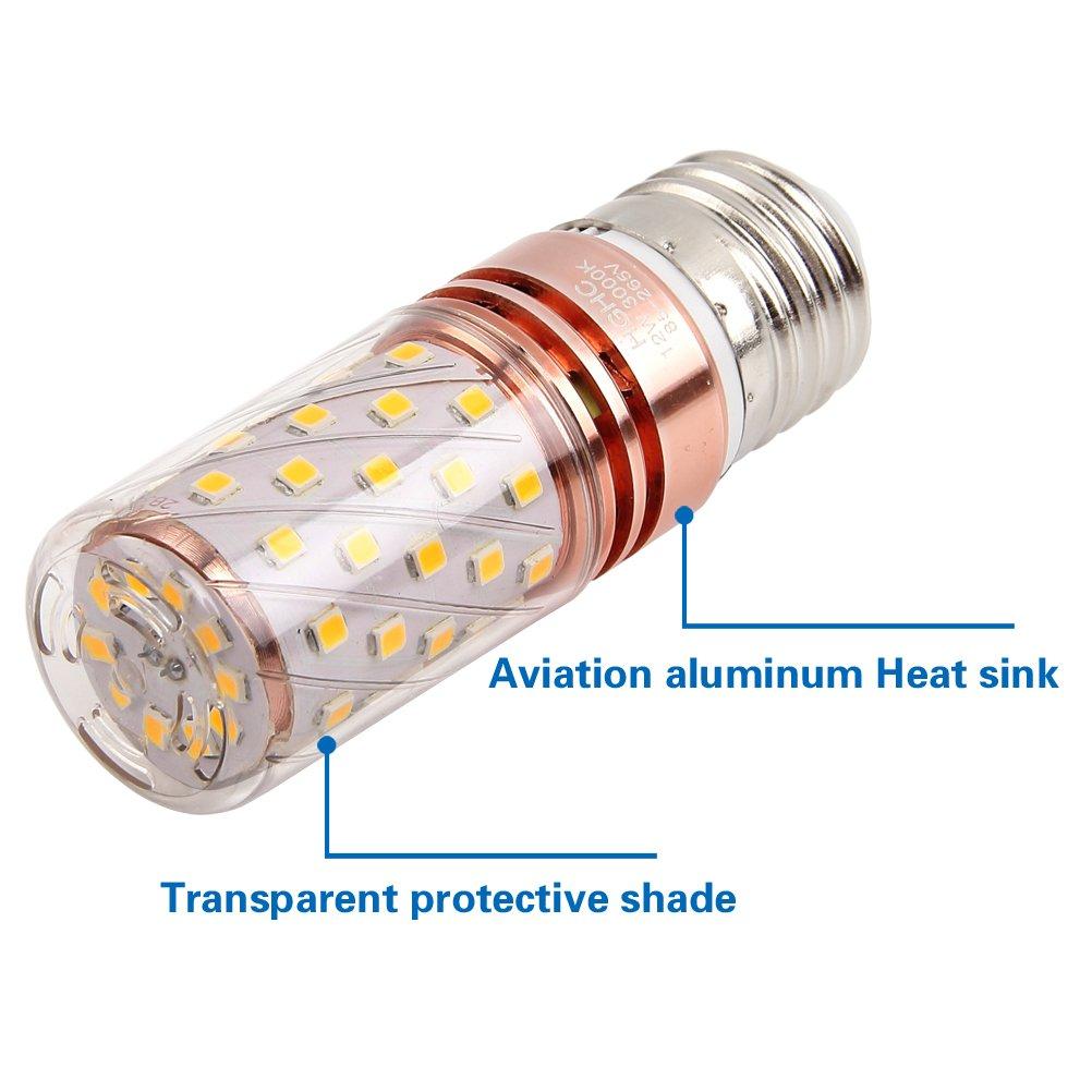 E27 LED Maíz Bombillas 12W AC85-265V 1000LM, 100W incandescente bombillas equivalentes, Blanco Cálido 3000K Candelabro Bombillas LED Lámpara, 4 Piezas: Amazon.es: Iluminación