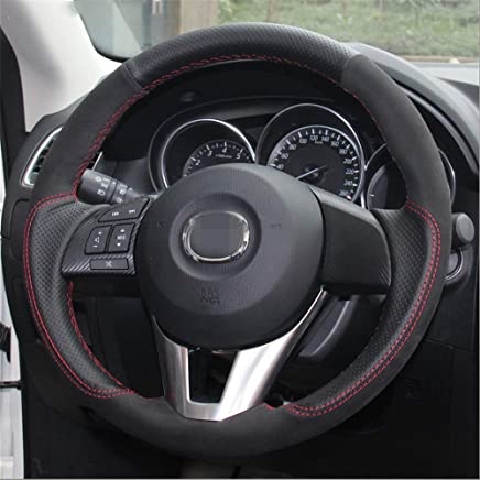 LUOERPI Cubierta de Cuero Negro del Volante del Coche del Ante Negro, para Mazda 3