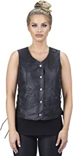 Viking Cycle Rowdy Leather Motorcycle Vest for Women (Large)