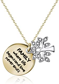 Mestige Gold Family Forever Necklace with Swarovski® Crystals, Tree of Life, Gift
