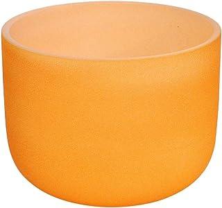 440Hz 20 CM Color amarillo esmerilado Pitch perfecto E Note Solar Plexus Chakra Crystal Singing Bowl Quartz Singing Bowl con O-ring y New Crystal Mallet-8 pulgadas_naranja