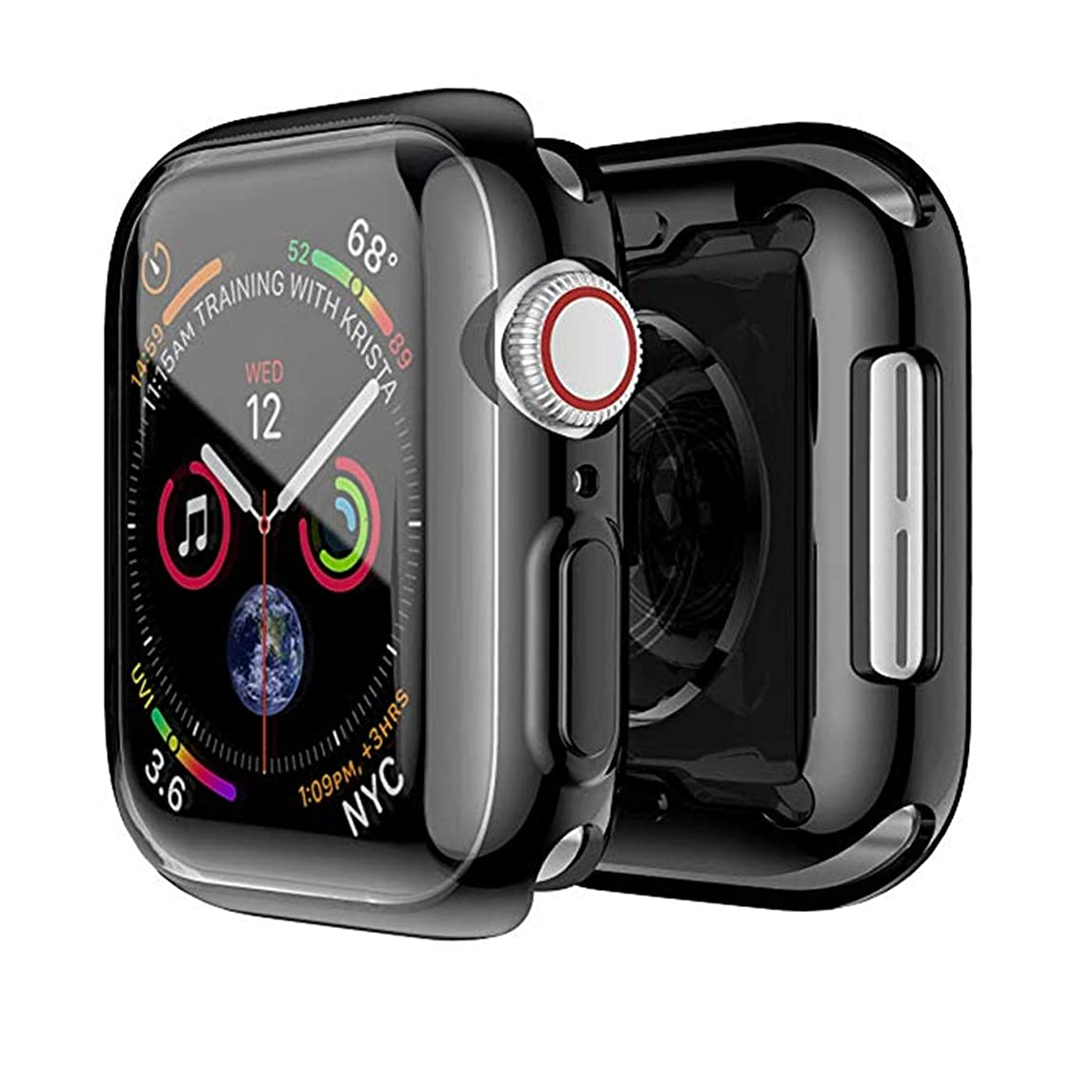 [2 Pack] Apple Watch 4 Case with Buit in TPU Screen Protector 44mm- All Around Protective Case High Definition Clear Ultra-Thin Cover Apple iWatch 44mm Series 4(Black, 44mm) (Black, 44mm Series 4) onwu1079364301