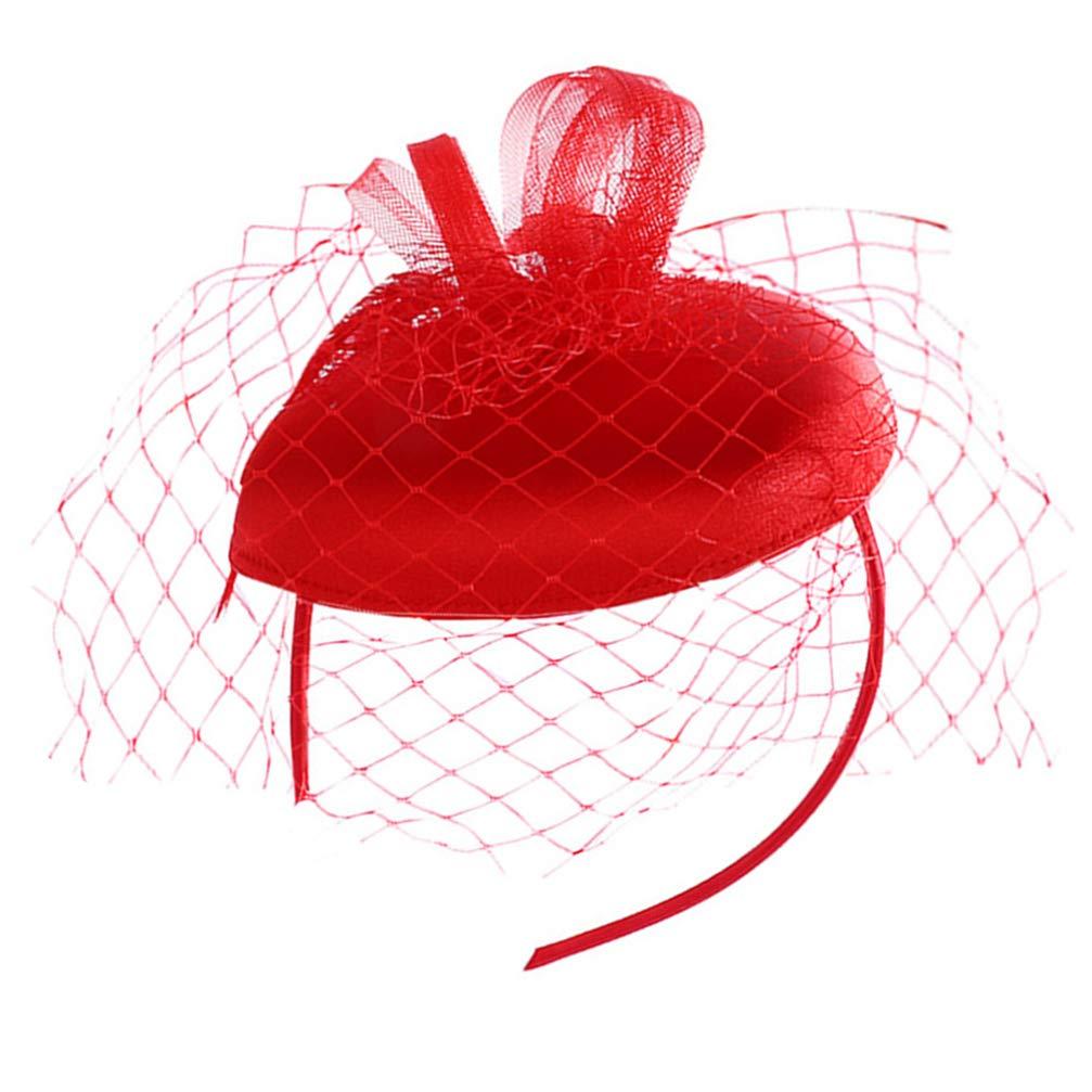 Beaupretty Fascinators Hats Beret Top Hat Tea Party Headbands Mesh Veil Hair Clip Hair Accessories for Women Church Cocktail Costume Party Supplies