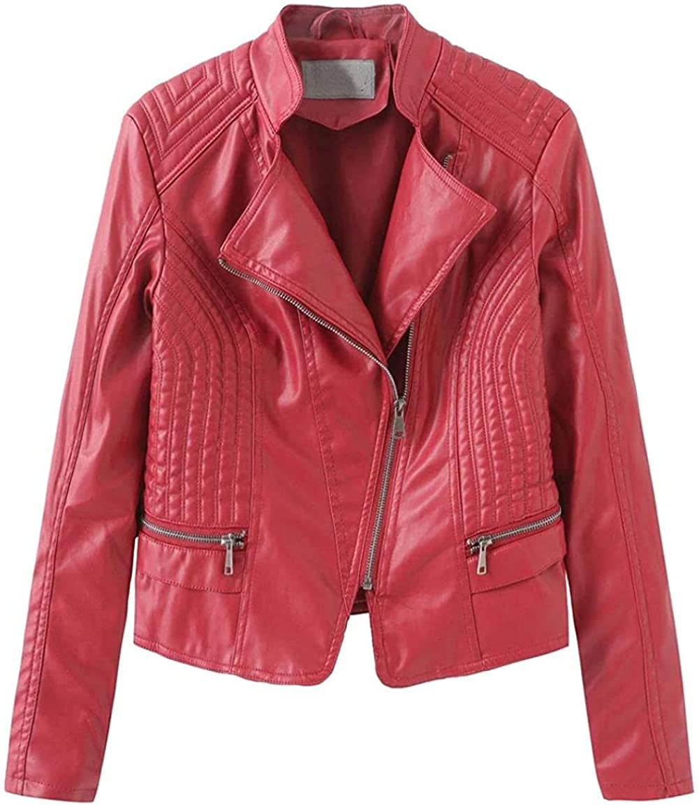 Women's Casual Oblique Zip Quilted Leather Free shipping on posting reviews Manufacturer regenerated product Motocycle Jacket Faux