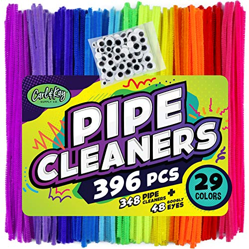 Carl & Kay 348 Pipe Cleaners & 48 Googly Eyes - Chenille Stems Pipe Cleaners Craft - Colorful Pipe Cleaners for Crafts - Colored Pipe Cleaners for Kids - Bulk Pipe Cleaners - Soft Fuzzy Chenille Stems