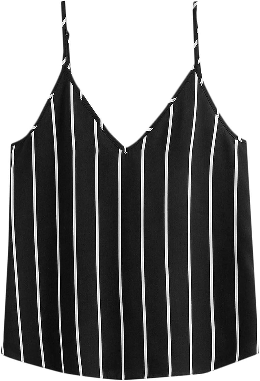 SheIn Women's Sleeveless Spaghetti Strap Camisole V Neck Striped Print Cami Top