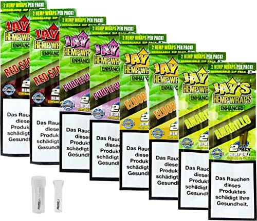 yaoviz® Set 2x 4er Pack - JUICY JAY Hanf Wrap Enhanced - 2 pro Packung (16 Total) - Hemp Wraps inkl- Glastip mit Dose