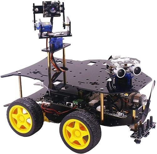 DXX Robot Programmable pour Raspberry Pi 3 B+ 4WD Voiture Robot Version bleutooth sans Fil WiFi DIY Stem pour Adolescents avec Raspberry Pi