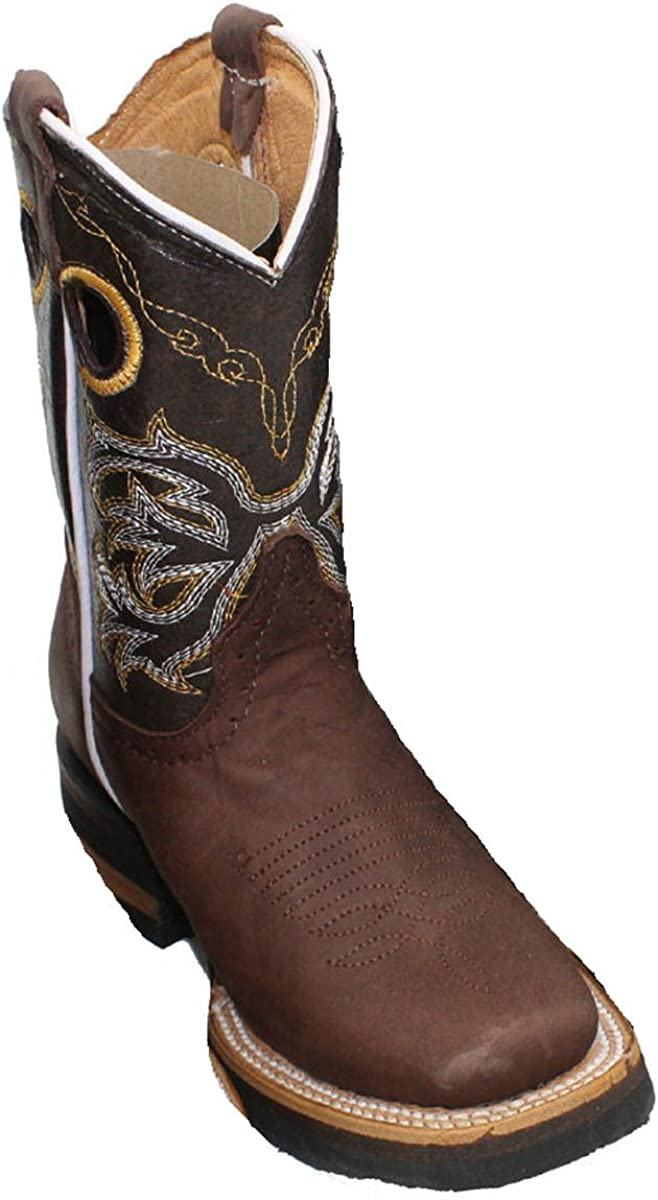 Kid'stoddler Sale Cowboy Boots Baltimore Mall Leather Square Unisex Rodeo Toe Wester