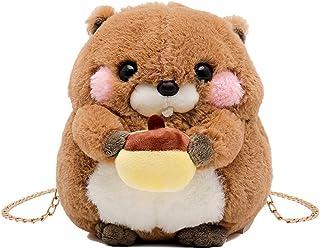VooDirop Umhängetasche Nette Hamster Doll Plüsch Damen CrossBody Shoulder Mini Bag Winter Kunstpelz Schultertasche Handtas...