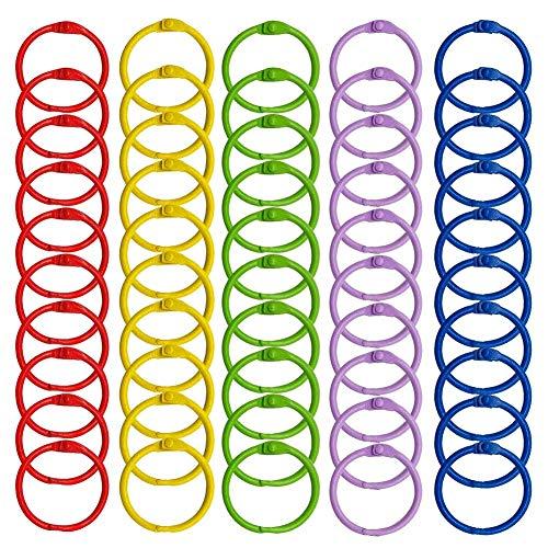Kyrieval 50 Stück Buchringe Buntes Buch Binder Metall Book Binder Ringe Loseblatt Verbinder Ringe Schlüsselringe,30mm Durchmesser