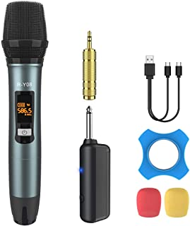 Wireless Microphone UHF Rechargeable(Work 13-18hs) Cardioid Dynamic Mic Handheld Wireless mic System for Karaoke, Singing,...
