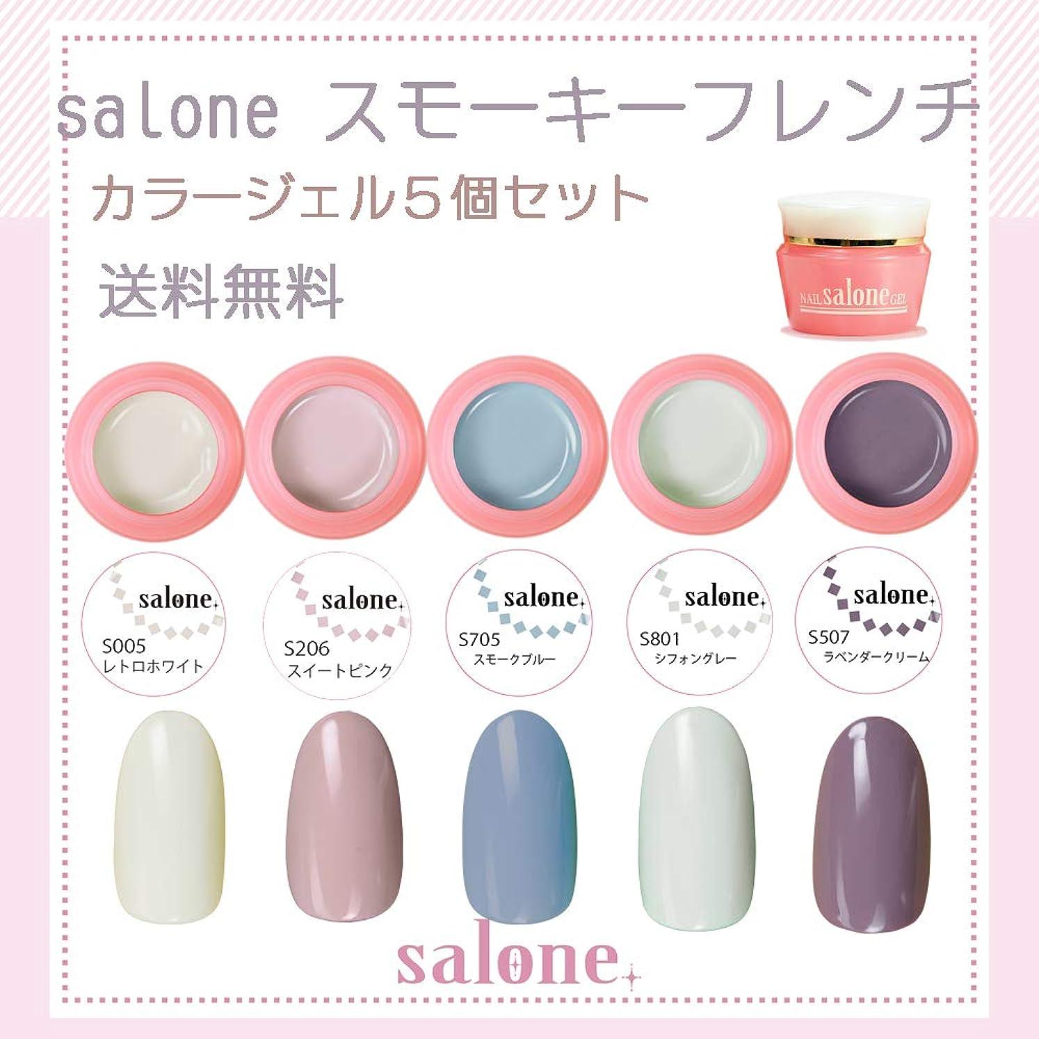 からに変化する乱れ仕方【送料無料 日本製】Salone スモーキーフレンチカラージェル5個セット スモーキーでくすみ系ネイルにピッタリなカラーをチョイス