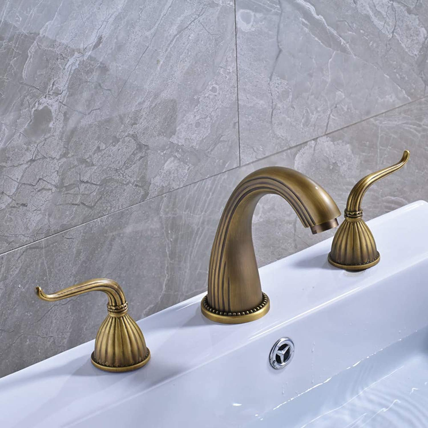 CZOOR Antique Brass Widespread Dual Handle Bathroom Washing Basin Mixer Taps Deck Mounted 3 Holes Lavatory Sink Faucet
