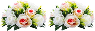 Pcs of 2 Fake Flower Ball Arrangement Bouquet,15 Heads Plastic Roses with Base, Suitable for Our Store's Wedding Centerpiece Flower Rack for Parties Valentine's Day Home Décor (Pink Champagne & White)