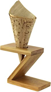 Single Bamboo Cone Holder Z Shaped L:3.5'' H:2.5'' Fits Packnwood Wood and Bamboo Leaf Cones - 10pcs