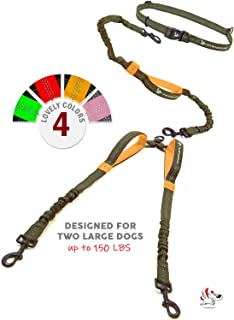 Pet Dreamland Hands Free Double Dog Leash - No Tangle Dog Leashes for Large Dogs - Heavy Duty Waist Coupler Bungee Lead