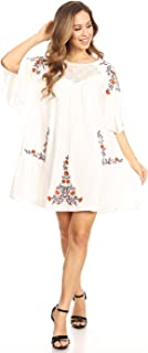 Women's Floral Embroidered Bell Sleeve Tunic Crochet Accent Mini Dress
