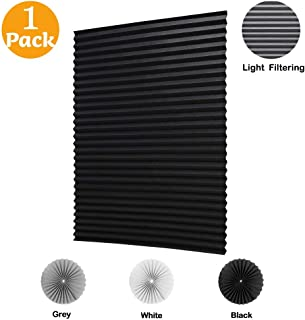 LUCKUP 1 Pack Cordless Light Filtering Pleated Fabric Shade,Easy to Cut and Install, with 2 Clips (48