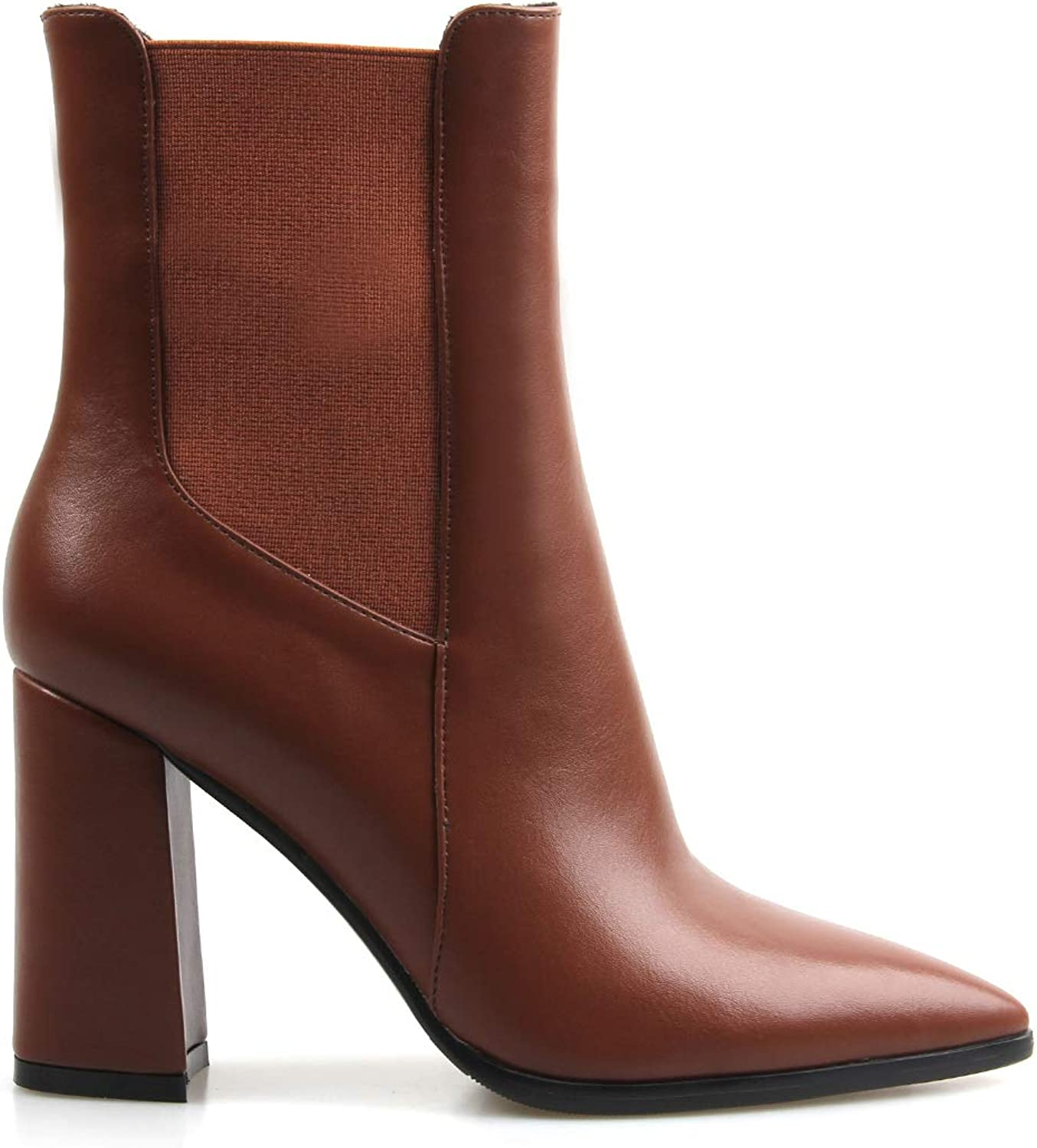 Perixir Women Ankle Boots PU Short Boots High Heel Boots Pointed Toe Square Heel Booties