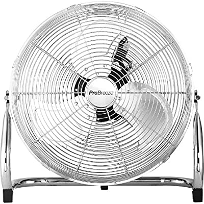 "Pro Breeze 20"" Chrome Gym Floor Fan with 3 Speeds and Adjustable Fan Head"