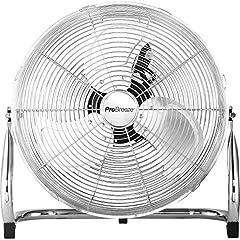 Per Breeze 50 cm krom golvfläkt, fläkt med 3 hastighetsnivåer och justerbart fläkthuvud - vindmaskin för gym eller verkstad