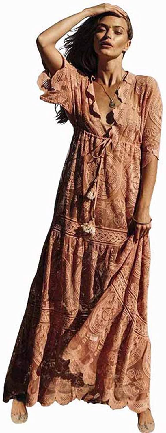 Europe and America Long Skirt Spring and Summer Pink Lace Dress Loose Elastic Thin Waist Sleeve Big Pendulum Beach Vacation Sun Predection Skirt,XL