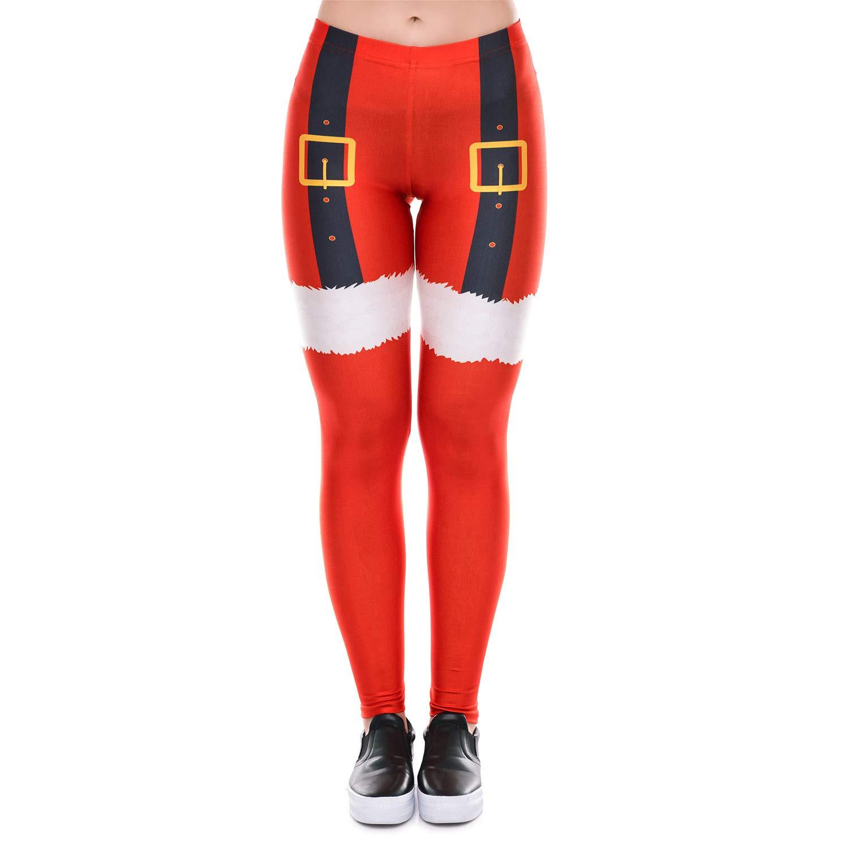 Ruiyue レギンス、3dプリントサンタクロースクリスマスデコレーションレギンスヨガパンツタイツレギンススポーツヨガレギンス用女性 (Color : Red, Size : S)