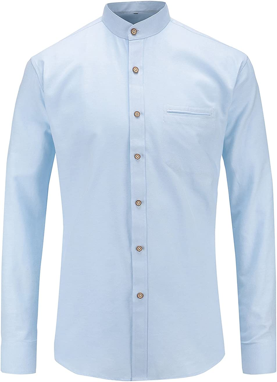 Jandukar Collarless Shirt for Men Long Sleeve Oxford Banded Collar Dress Shirt