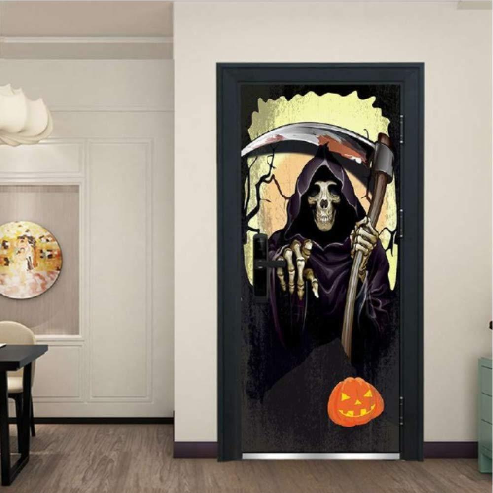 Etiqueta de la Puerta Fantasma de Halloween Etiqueta de la Puerta 3D Puerta de la estación Bar Elevador Hall Subway Escaleras Negro, Blanco Tirando Puerta Decoración para el hogar Pegar 77x200 cm: