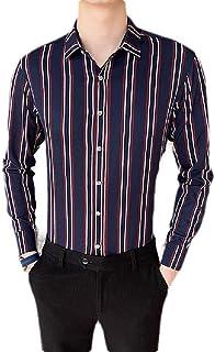 CRYYU Mens Plaid Slim Fit Casual Vertical Stripe Long Sleeve Button Down Shirt