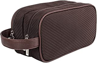 HOYOFO Travel Toiletry Bag for Men Waterproof Dopp Kit Shaving Kit with Double Compartments, Brown
