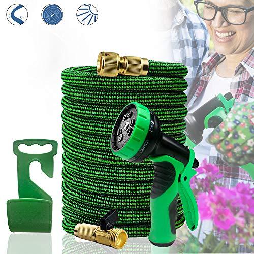 Froadp Gartenschlauch 22,5m Flexischlauch Erweiterbar Wasserschlauch Brause Düse mit 9 Funktionen für Gartenbewässerung und Reinigung(75Ft, Schwarz+Grün)