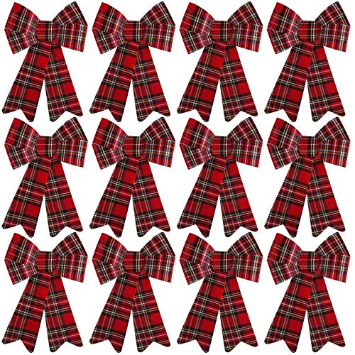 Aneco 12 Pack Black with Red Buffalo Plaid Bows Christmas Wreaths Bows Velvet Christmas Bows for Christmas Indoor and Outdoor Decorations