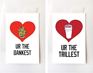 Dank Nug & Double Cup Lean Love Greeting Card Set, Funny, Internet, Trill, Lean, Weed