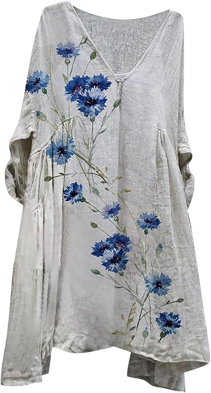 Women's Casual 3/4 Sleeve Vintage Floral Print Loose Short Mini Dress