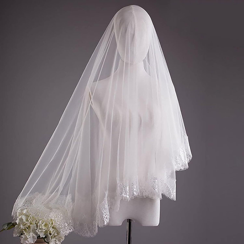 Acenail 1 Tier Ivory Women's Wedding Veil Soft Tulle Lace Edge Bridal Veil Fingertip Length Veil Wedding Accessory for Brides