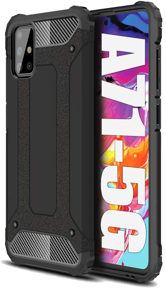 Jusy Samsung A71 5g Case with Four Bumpers [NOT Fit Verizon & 4G] Wireless Charging Compatible, 15ft Drop Tested Shockproof, Heavy Duty Protective for Samsung Galaxy A71 5g Case - Black