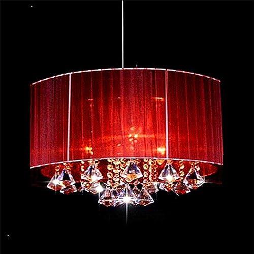 FDA3H Lustre Moderne Ovale Salon Salle d'étude Conduit Abat-Jour en Tissu brossé lumière Lustre k9 Cristal luminaria, Rouge